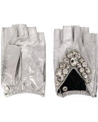 Karl Lagerfeld K/geostone Fingerless Gloves - Metallic