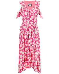 Moschino Платье С Оборками И Цветочным Принтом - Розовый