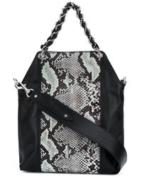 Just Cavalli Snakeprint Paneled Tote Bag - Black