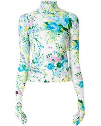 Richard Quinn Glove-sleeve floral turtleneck top - Multicolore