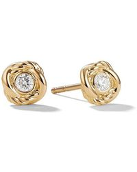 David Yurman - 18kt Yellow Gold And Diamond Crossover Stud Earrings - Lyst
