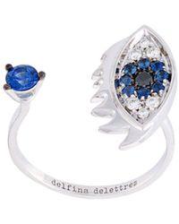 Delfina Delettrez 'eyes On Me Piercing' Diamonds And Sapphires Ring - Blauw