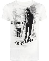 Yohji Yamamoto スローガンプリント Tシャツ - ホワイト