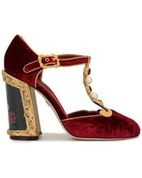 Dolce & Gabbana Painted Heel T-strap Pumps - Red
