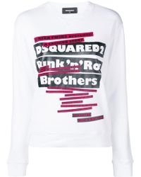 DSquared² 'punk N Roll Brothers' Print Sweater - White