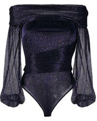 Talbot Runhof Body à épaules dénudées - Bleu