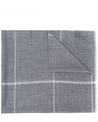 N.Peal Cashmere チェック スカーフ - グレー