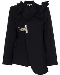 ShuShu/Tong Bow Detail Asymmetric Wool Blazer - Blue