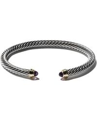 David Yurman Cable Classics Sterling Silver Amethyst & 14kt Yellow Gold Accented Cuff Bracelet - Metallic