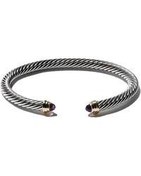 David Yurman Cable Classics sterling silver amethyst & 14kt yellow gold accented cuff bracelet - Métallisé