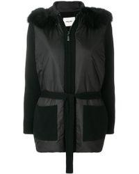 Max & Moi Belted Fur-hooded Jacket - Black