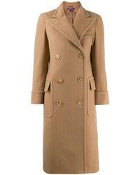 Ralph Lauren Collection Manteau long à boutonnière croisée - Marron