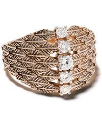 Kismet by Milka - 14kt Rose Gold Leaf Diamond Embellished Cocktail Ring - Lyst