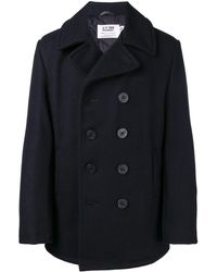 Schott Nyc Double Breasted Coat - Blue