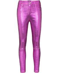 RTA Madrid Metallic Leather Skinny Pants - Pink