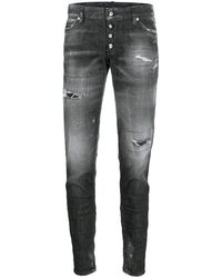 DSquared² - Distressed Zipped Ankle Skinny Trousers - Lyst