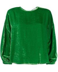 Roseanna Velvet Dropped Shoulder Top - Green