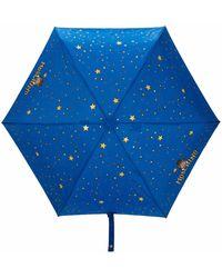 Moschino Paraguas con estampado Teddy Bear - Azul