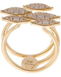 Sara Weinstock - Donna Open 5 Pave White Diamond Yellow Gold Ring - Lyst