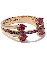"""Delfina Delettrez - """"18kt Rose Gold, Tourmaline And Sapphire Linked Dots Ring"""" - Lyst"""