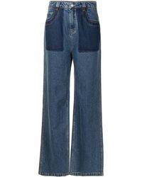 PORTSPURE コントラストポケット ワイドジーンズ - ブルー