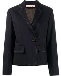 Marni Contrast-stitch Boxy Blazer - Blue