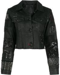 Philipp Plein Декорированная Укороченная Джинсовая Куртка - Черный