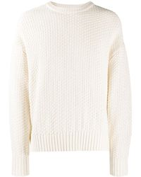 AMI Crew Neck Basket Stitch Sweater - White