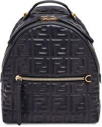 Fendi Mini Ff-motif Backpack - Black