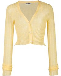 Jil Sander Semi-sheer Cropped Cardigan - Yellow