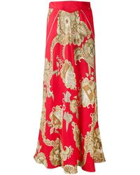 Hermès Pre-owned Abstract Print Midi Skirt - Red