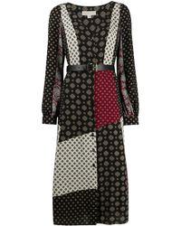 MICHAEL Michael Kors Платье Миди Со Вставками И Принтом - Черный