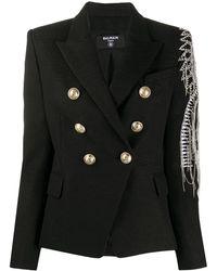 Balmain Embellished Double-breasted Blazer - Black