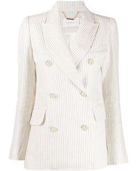 Zimmermann Double Breasted Striped Blazer - White
