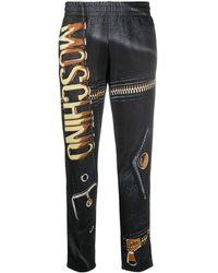 Moschino Biker-print Pants - Black