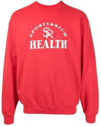 Sporty & Rich Jersey con cuello redondo y logo - Rojo