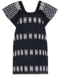 Pippa Holt Navy, Blue And White Embroidered Kaftan Mini Dress