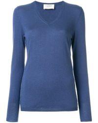 Snobby Sheep Ribbed V-neck Sweater - Blue