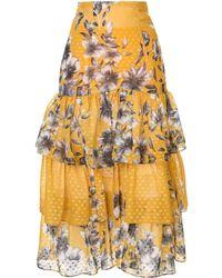 Bambah Floral Ruffle Skirt - Yellow