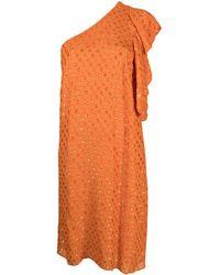 L'Autre Chose ポルカドット ワンショルダー ドレス - オレンジ