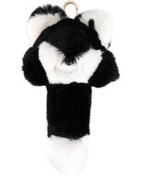 Yves Salomon Four Rex Rabbit Fox Keychain - Black