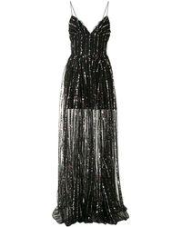 Rasario ストライプ スパンコール ドレス - ブラック