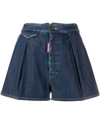 DSquared² Pleated Denim Shorts - Blue