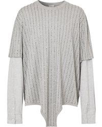 Burberry ラインストーン レイヤードtシャツ - グレー