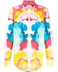 Alexander McQueen Tie-dye Print Long-sleeved Shirt - Blue