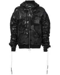 Mostly Heard Rarely Seen Boxy Camouflage Zip-up Hoodie - Black