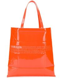 CALVIN KLEIN 205W39NYC Embossed Logo Tote Bag - Orange