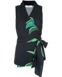 Amir Slama Tropical print wrap style blouse - Negro