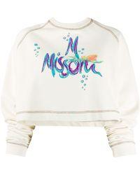 M Missoni Укороченная Толстовка С Вышитым Логотипом - Белый
