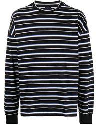 Juun.J ストライプ ロングtシャツ - ブラック
